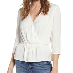 NWT Nordstrom 1. State- Peplum Blouse Off White